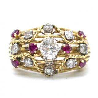 Bespoke diamond & ruby encrusted 18kt yellow-gold ring