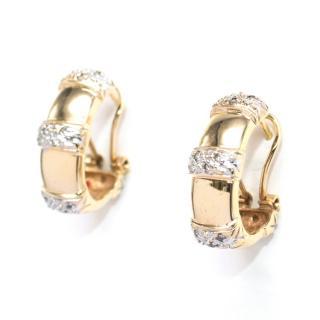 )Bespoke diamond pave oval-hoop yellow-gold earrings