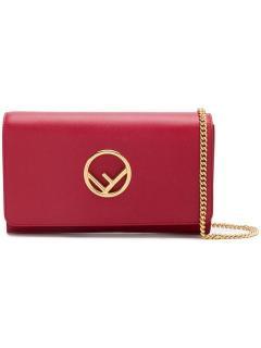 Fendi Red Kan I Logo Wallet on Chain Bag