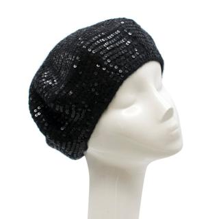Catherine Malandrino Black Wool and Sequin Beret