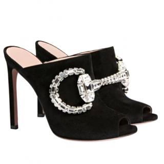 Gucci Jewelled Suede Mules