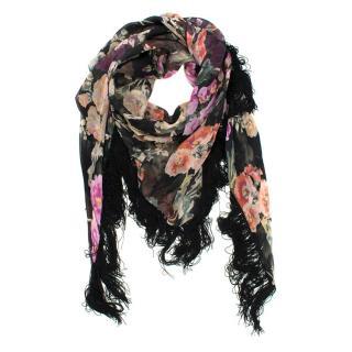 Dolce & Gabbana Floral-Print Fringed Scarf
