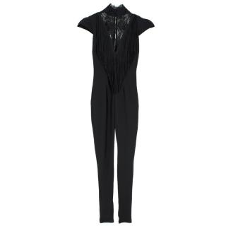 Philip Armstrong Black Fringe and Lace Cat Suit