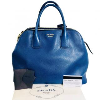 Prada Large Blue Leather Shopper