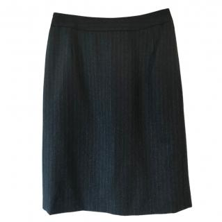 Mulberry wool grey pencil skirt navy & pale grey pinstripe
