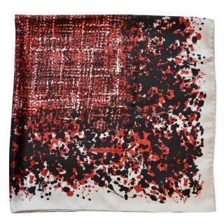 Bottega Veneta black-red printed silk scarf