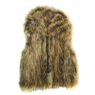 Zadig & Voltaire Deluxe Brown Raccoon Fur Gilet