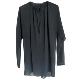 Ralph Lauren black silk-georgette blouse
