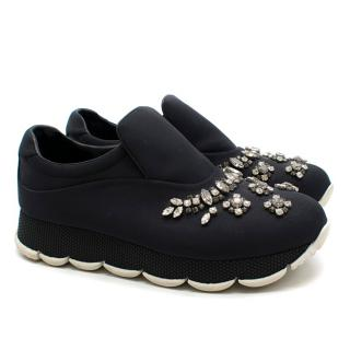 Prada crystal-embellished neoprene slip-on trainers