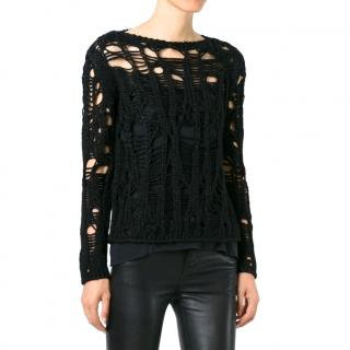 Saint Laurent Crewneck Black Wool Open Knit Jumper
