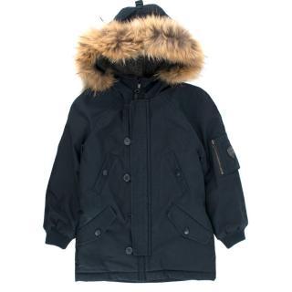Bonpoint boys age 4 navy fur-trimmed coat