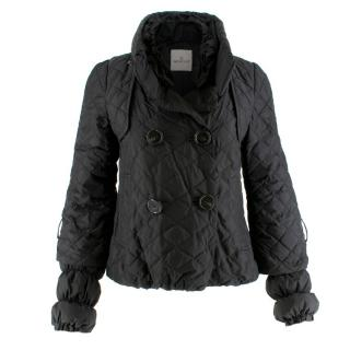 Moncler black quilted-down coat