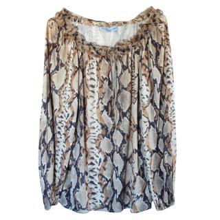 Blumarine Silk Snake Print Blouse