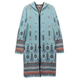 Deerberg Blue Cotton Long Hooded Cardigan