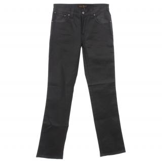 nudie Slim Jim Dry Black Coated Stretch Denim Jeans