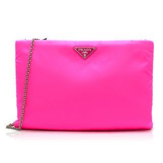 Prada neon-pink large nylon clutch