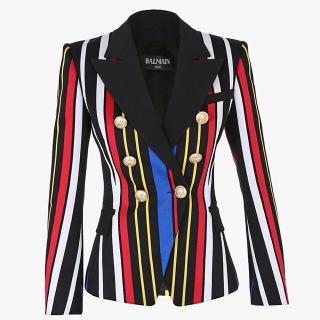 Balmain Multicolour Striped Double Breasted Blazer