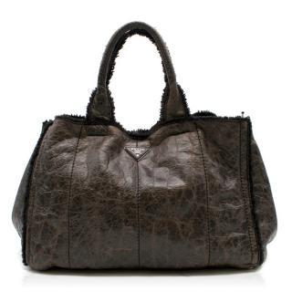 Prada Brown Leather Shearling Tote Bag