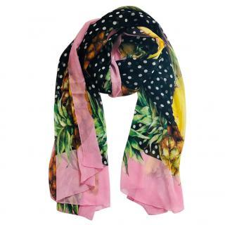 Dolce & Gabbana Majolica pineapple silk scarf wrap