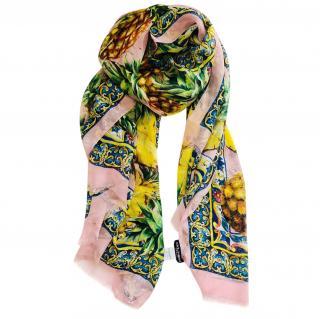 Dolce & Gabbana Majolica tropical silk scarf wrap