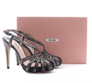 Miu Miu Glitter Strap Sandals