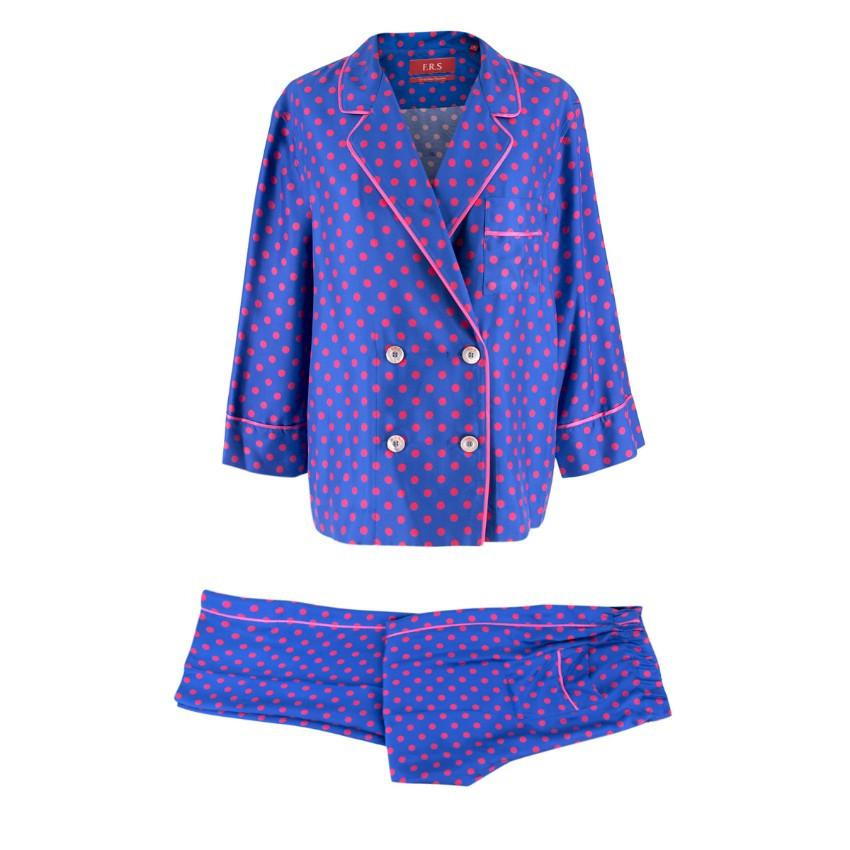For Restless Sleepers polka-dot print silk pyjama suit