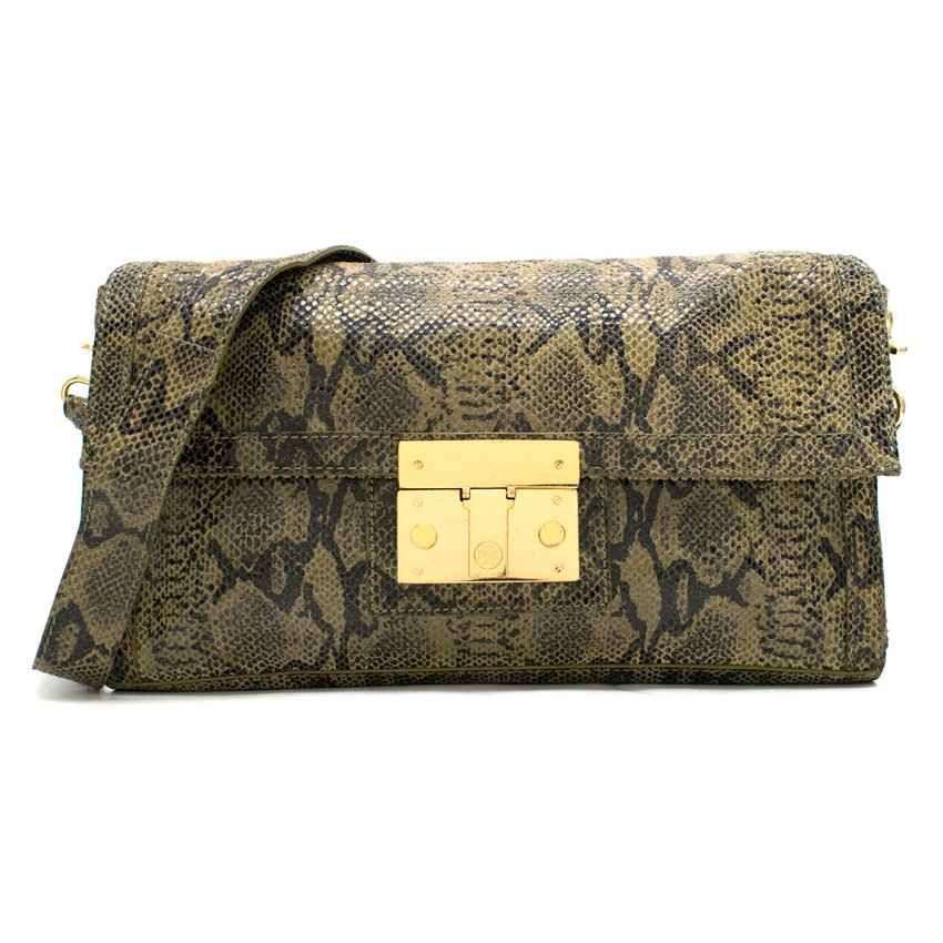 292f6e30fcc Tory Burch Green Snakeeffect Suede Bag