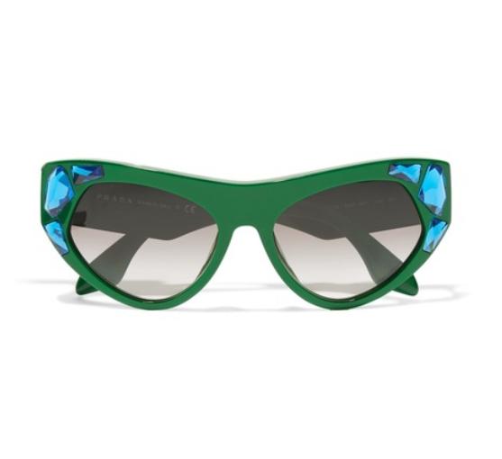 07cb7b25fc00 Prada Green Cat Eye Crystal Embellished Sunglasses Limited Editio ...