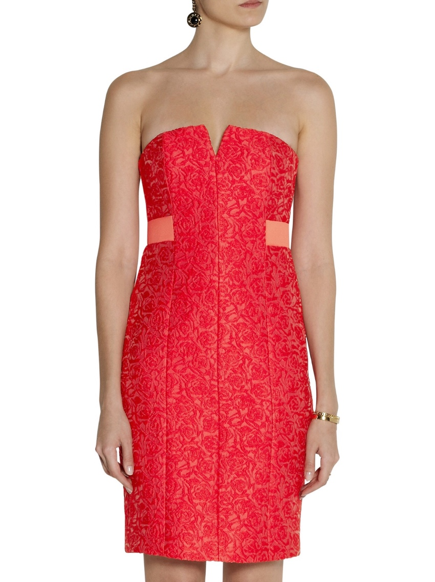 Halston Heritage Red Floral Jacquard Dress