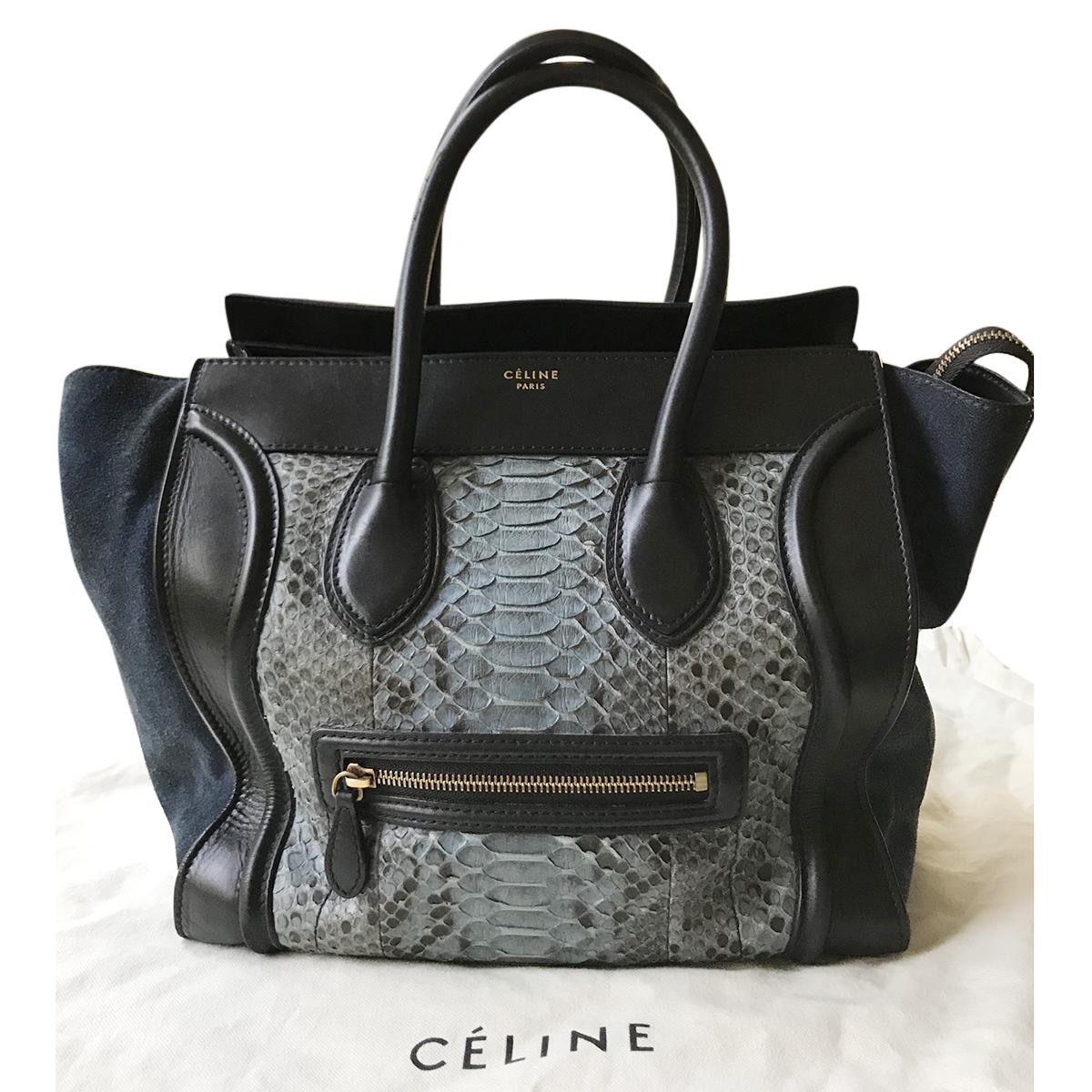 829f27203b47 Celine Dark Blue Python Luggage Tote Bag