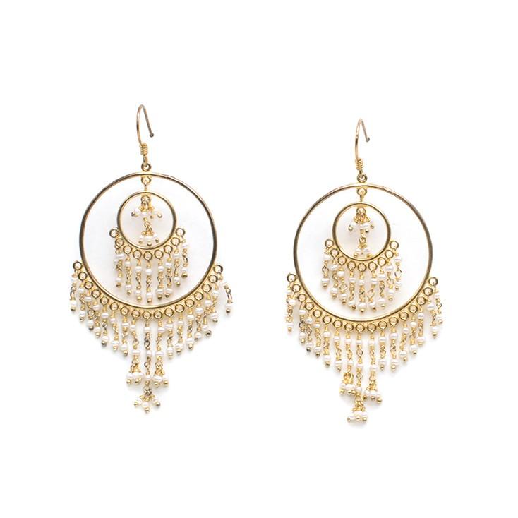 Amrapali multi-strand hoop-drop earrings
