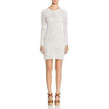 Michael Michael Kors White Crochet Long Sleeve Dress