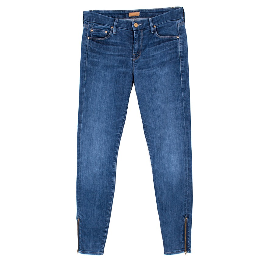 Mother Blue The Looker Ankle Zip Jeans