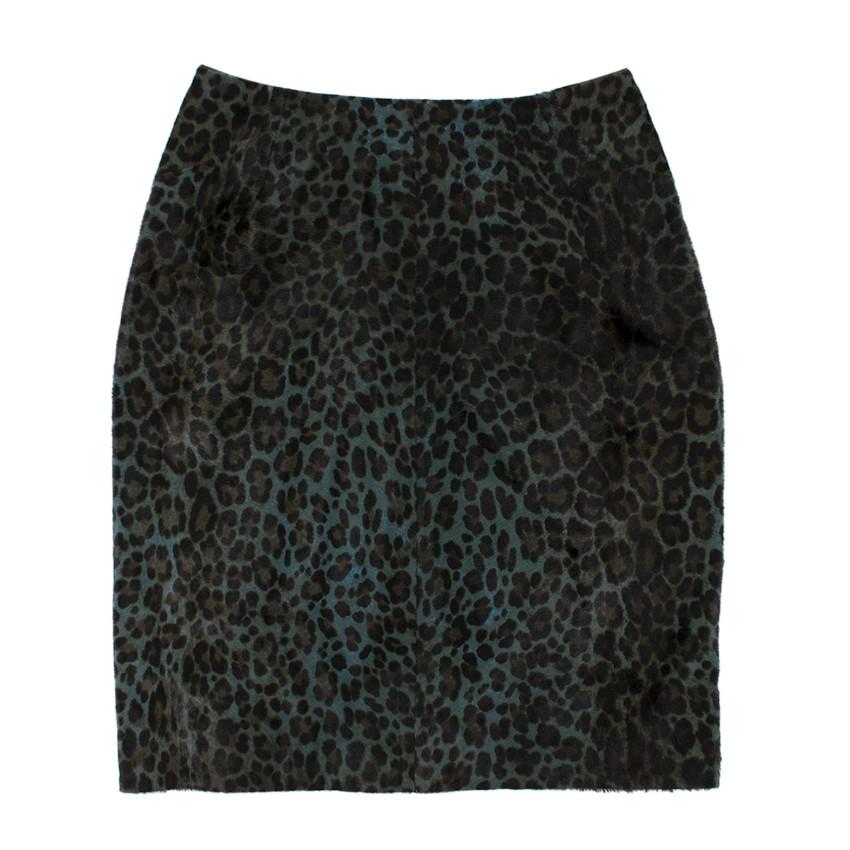 Alaia Jupe leopard-print calf hair pencil skirt