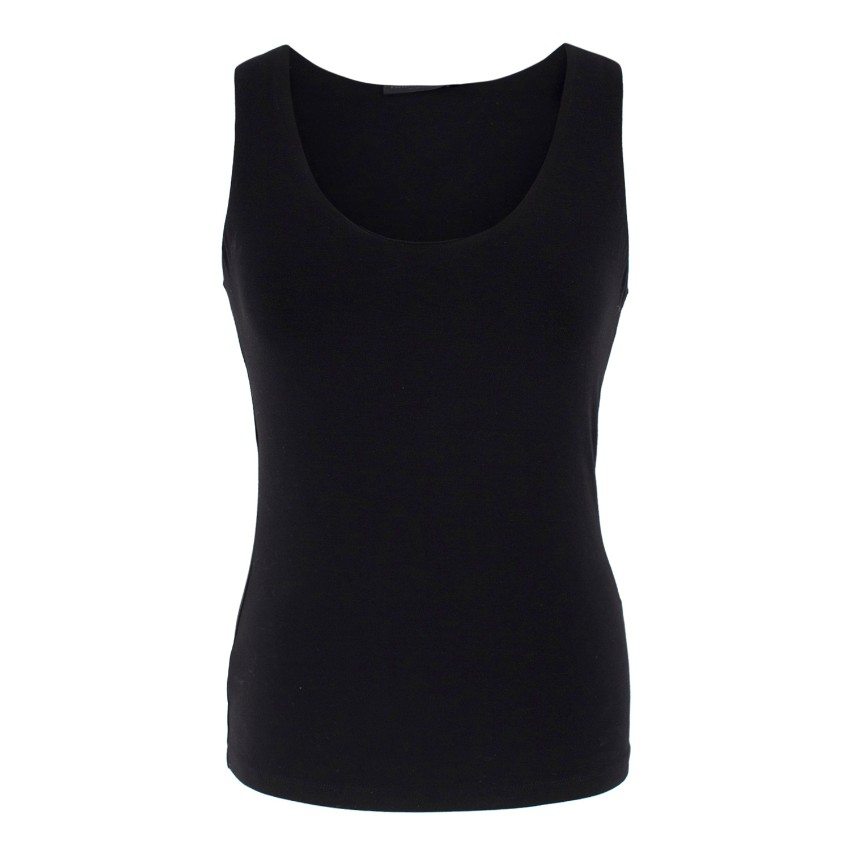 Donna Karan black jersey tank top