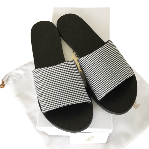 Ancient Greek sandals gingham sandals
