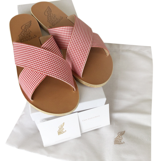 Ancient Greek sandals red gingham sandals