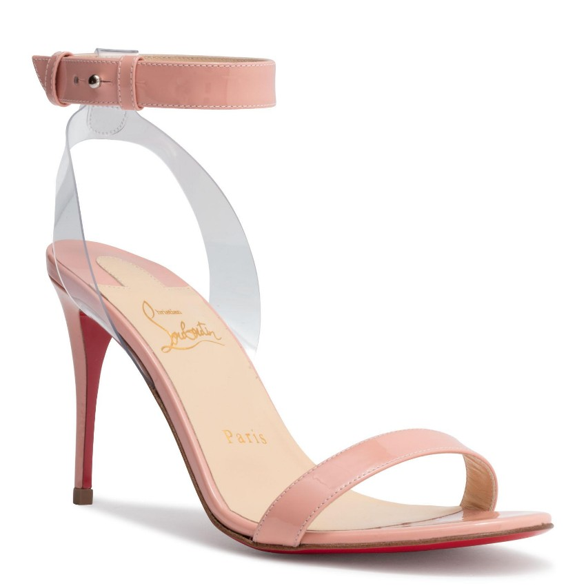 online store 9ab12 3b2ee Christian Louboutin 'Jonatina' Patent Sandals in Light Pink - EU 39