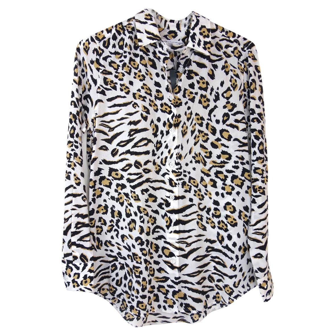 Equipment animal print silk shirt