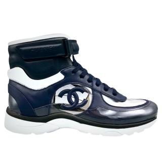 Chanel Blue CC High-Top Trainers
