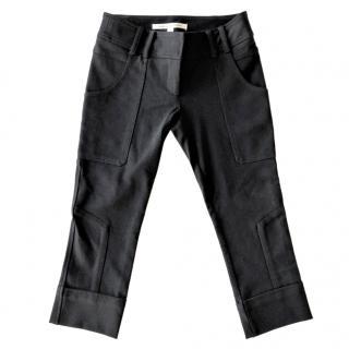 Diane Von Furstenberg black cropped jersey trousers