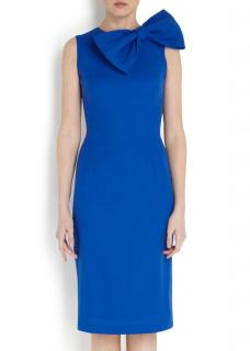 Philip Armstrong bow-detail blue wool-crepe dress