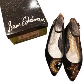 Sam Edelman Black Embroidered Flats