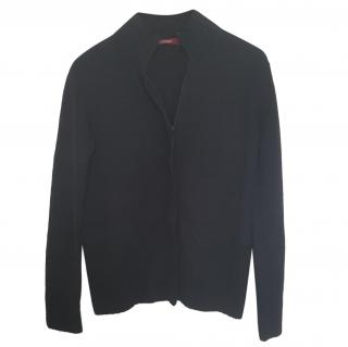 Max Mara black wool zipped cardigan