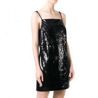 Saint Laurent black sequin mini dress