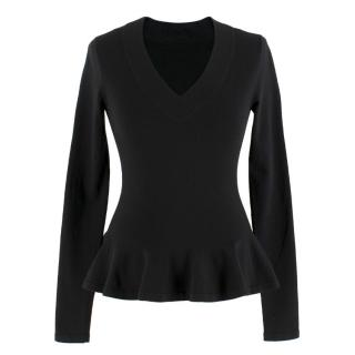 Alaia Black Long Sleeve Peplum Top