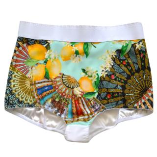 Dolce & Gabbana printed high-waisted silk shorts