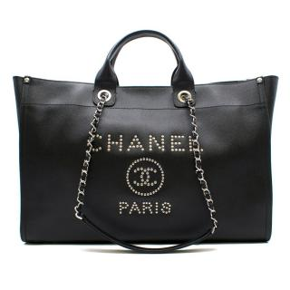 Chanel Deauville XL Black Leather Studded Bag
