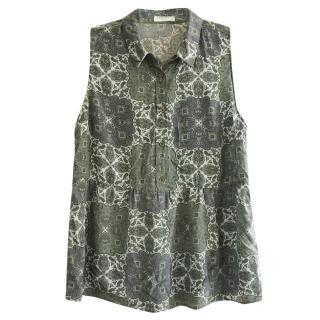Equipment Silk Paisley Print Sleeveless Blouse