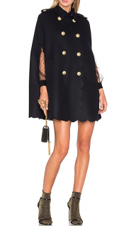 Red Valentino Scalloped double-breasted wool-blend felt cape